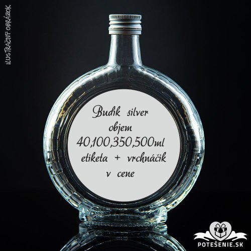 Prázdna svadobná fľaša Budík Silver 40 ml, 100 ml, 350 ml, 500 ml