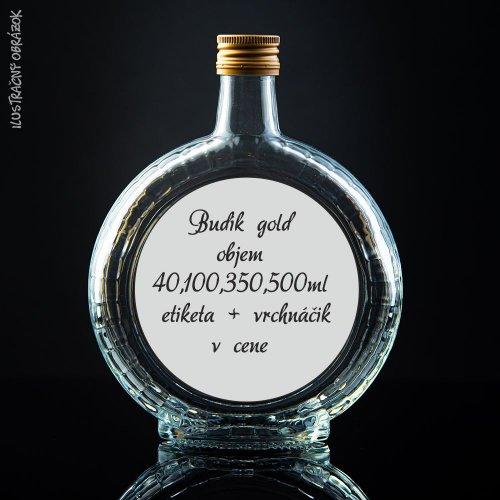Prázdna svadobná fľaša Budík Gold 40 ml, 100 ml, 350 ml, 500 ml