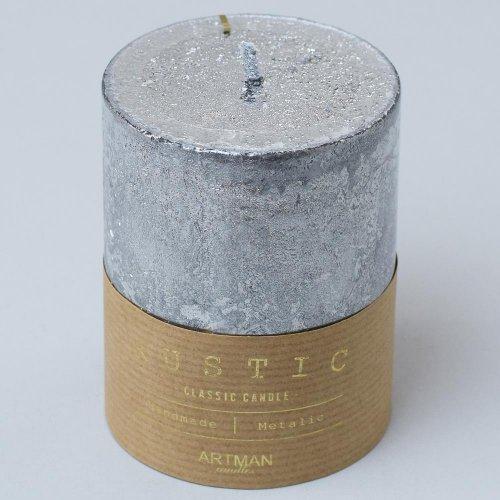 Rustic vianočná sviečka valec 7x10 strieb .