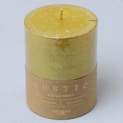 Rustic vianočná sviečka valec 7x10 zlatý