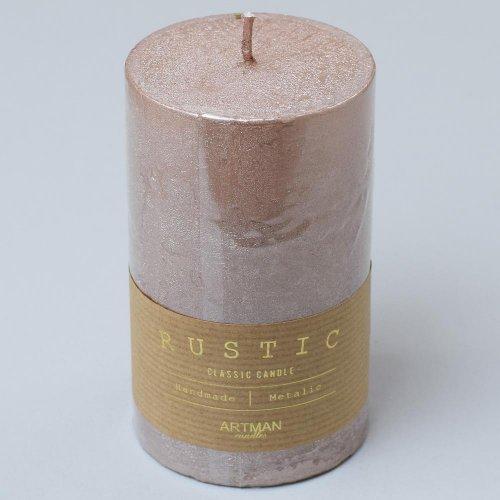 Rustic vianočná sviečka valec 7x14 rose gold