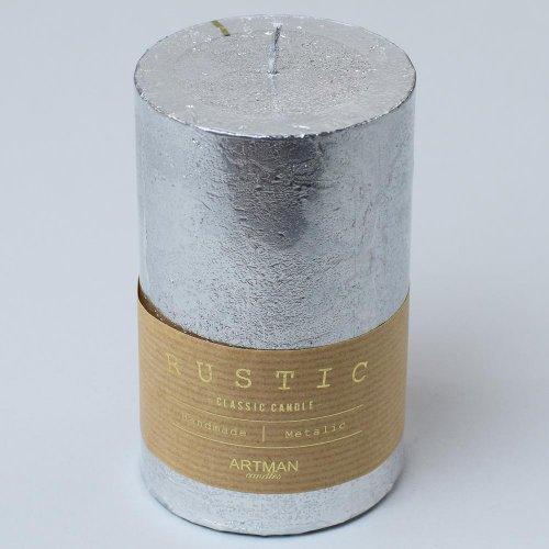 Rustic vianočná sviečka valec 7x14 strieb .