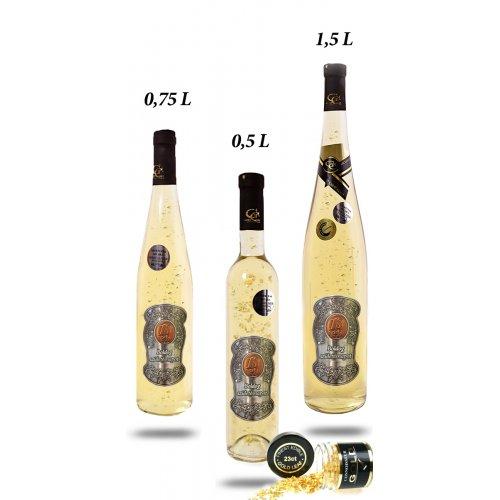 Ajándék palack - (0-90) év Irsai Olivér 23 karát- Születésnap fém címke 0,5 L
