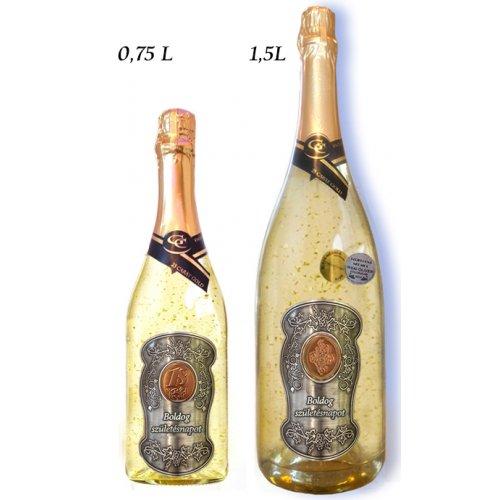 Ajándék palack - (0-90) év Arany habzóbor - Születésnap fém címke