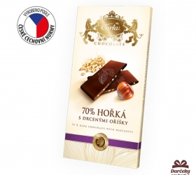 Horká 70% čokoláda s lieskovými orieškami