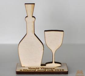 Dekorácia - fľaša s pohárom