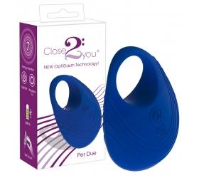 Close2You: Per Due nabíjateľný krúžok na penis (modrý)