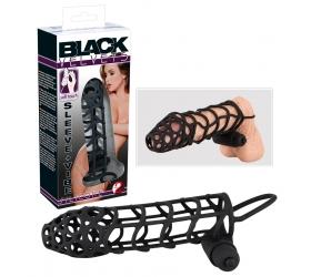 Black Velvet mriežkovaný, vibračný návlek na penis (čierny)