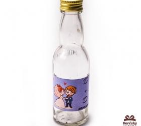 Svadobná mini fľaštička s alkoholom, motív S01