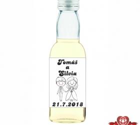 Svadobná mini fľaštička s alkoholom, motív S27