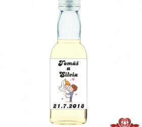 Svadobná mini fľaštička s alkoholom, motív S42