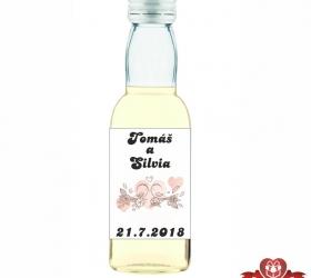 Svadobná mini fľaštička s alkoholom, motív S44