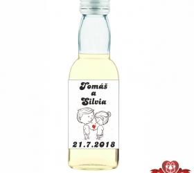 Svadobná mini fľaštička s alkoholom, motív S45