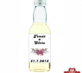 Svadobná mini fľaštička s alkoholom, motív S47