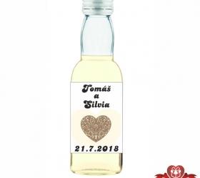 Svadobná mini fľaštička s alkoholom, motív S51
