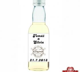 Svadobná mini fľaštička s alkoholom, motív S56