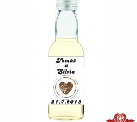 Svadobná mini fľaštička s alkoholom, motív S65