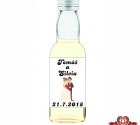 Svadobná mini fľaštička s alkoholom, motív S71