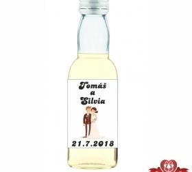 Svadobná mini fľaštička s alkoholom, motív S74
