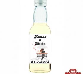 Svadobná mini fľaštička s alkoholom, motív S78