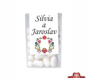 Dražé cukríky pre svadobných hostí, motív S020