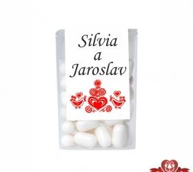 Dražé cukríky pre svadobných hostí, motív S026