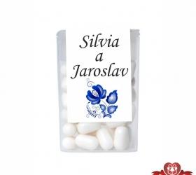 Dražé cukríky pre svadobných hostí, motív S038