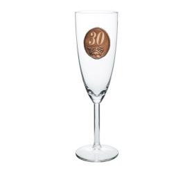 30   rokov Pohár na sekt a šampanské kovová etiketa