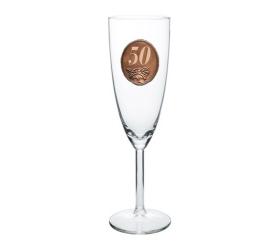 Foto 50  rokov Pohár na sekt a šampanské kovová etiketa