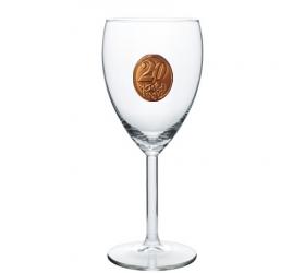 Foto 25,35,45,55,65,80  rokov Pohár na víno  kovová etiketa