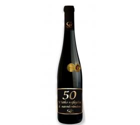 Foto 0,75 L Darčekové víno Červené Renana metalická  etiketa 50 rokov