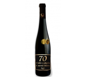 Foto 0,75 L Darčekové víno Červené Renana metalická  etiketa 70 rokov