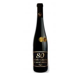 Foto 0,75 L Darčekové víno Červené Renana metalická  etiketa 80 rokov