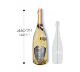 Foto 1,5 L Svadobné Zlaté šumivé kovová etiketa