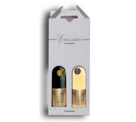 Vianočný darčekový set 2v1 - víno biele a červené kovová zlatá etiketa