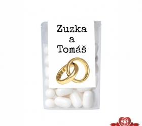 Dražé cukríky pre svadobných hostí, motív S053