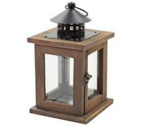 Lampáš hnedý drev/kov 13x13x23 cm