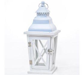 3fl/s-malý lampáš drevo/kov biely
