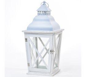 3fl/s-veľký lampáš drevo/kov biely