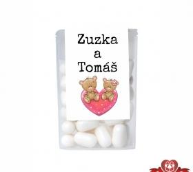Cukríky pre svadobných hostí  -  mackovia na srdiečku