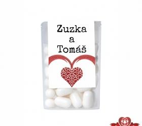 Cukríky pre svadobných hostí  -  srdce so stuhou