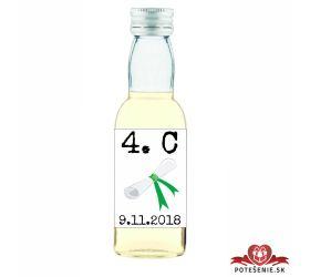 Maturitná fľaštička s alkohol - zelená stužka - 27