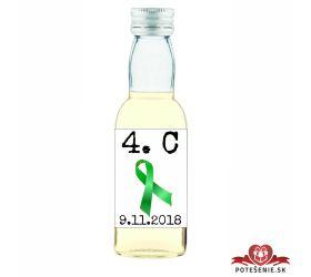 Maturitná fľaštička s alkohol - zelená stužka - 22