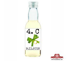 Maturitná fľaštička s alkohol - zelená stužka - 21