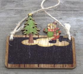 6x Set 2 Drevených Vianočných Dekorácií - Snehuliak & Stromček