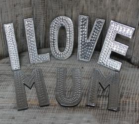 8x Hlinníkové Dekoračné Písmená - I LOVE MUM