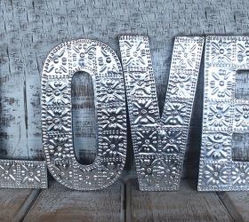 4x Veľké Hlinníkové Dekoračné Písmená - LOVE