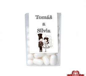 Dražé cukríky pre svadobných hostí, motív S177