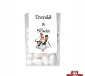 Dražé cukríky pre svadobných hostí, motív S178