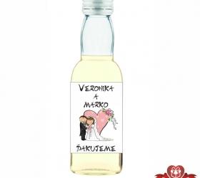 Svadobná mini fľaštička s alkoholom, motív S114